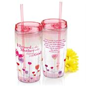 Blessed Is The Mother Who Travels With God Double-Wall Acrylic Tumbler With Straw