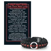 Firefighters The Thin Red Line Paracord Bracelet With Card