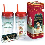 Making A Difference In The Lives Of Others Holiday Acrylic Tumbler With Straw & Chocolate Bar