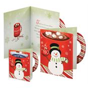 Snowman Holiday Greeting Card With Hot Chocolate