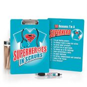 Superheroes In Scrubs Full-Color Clipboard & Pen Gift Set