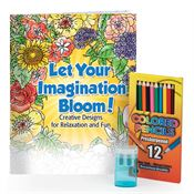Let Your Imagination Bloom Adult Coloring Book, Pencils, & Sharpener Gift Set