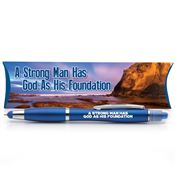 A Strong Man Has God As His Foundation 3-in-1 Pen/Stylus/Highlighter With Pillow Box