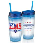 EMS: Every Call Counts Double-Wall Acrylic Tumbler With Straw 16-oz.