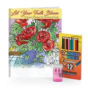 Let Your Faith Bloom Adult Coloring Book, Pencils, & Sharpener Gift Set