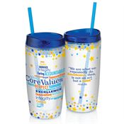 Core Values Double-Wall Acrylic Tumbler With Straw 16-oz.