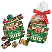 Ugly Sweater Mini Paper Tote With Hershey's® Miniatures plus Holiday Card and Bow