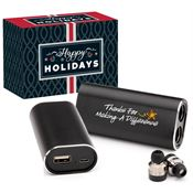 Thanks For Making A Difference 2-In-1 Wireless Earbuds With 2000 mAh Power Bank Charger In Holiday Gift Box