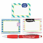 3-Piece Sticky Pad Assortment With Pen Teachers Gift Set