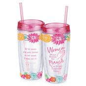 Women Who Kneel In Prayer Can Stand Through Trials Double-Wall Acrylic Tumbler With Straw 16-oz.