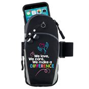 We Love, We Care, We Make A Difference Cellphone Arm Band With Earbuds