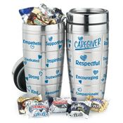 Caregiver Stainless Steel Message Tumbler & Chocolates