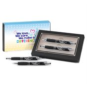 We Love, We Care, We Make A Difference Sayville Metal Stylus Pen & Pencil Gift Set