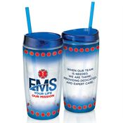 EMS: Your Life, Our Mission Double-Wall Acrylic Tumbler With Straw