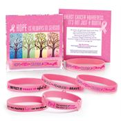 Pink Awareness Bracelets with Reminder Card Assortment Pack