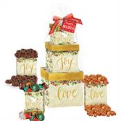 Peace, Joy, Love Treat Tower with Holiday Gift Card and Bow