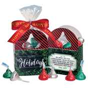 Happy Holidays Mini Paper Tote With Hershey's® Kisses ® and Bow