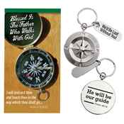 He Will Be Our Guide Compass Key Tag with Keepsake Card