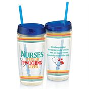 Nurses: Every Day Touching Lives Double-Wall Acrylic Tumbler With Straw