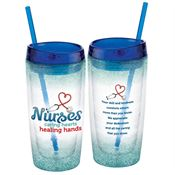 Nurses: Caring Hearts, Healing Hands Double-Wall Acrylic Tumbler With Straw
