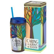 Caring Is Always In Season Acrylic Tumbler With Blue Lid & Straw