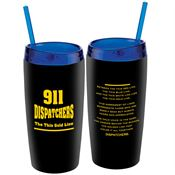 911 Dispatchers: The Thin Gold Line Double-Wall Acrylic Tumbler With Straw 16-oz.