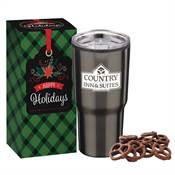 Stainless Steel To-Go Tumbler 20-Oz. With Treats in Holiday Gift Box - Personalization Available