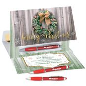 Merry Christmas Greeting Card & Stylus Pen Set - Personalization Available