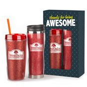 Thanks for Being Awesome Glitter Hot & Cold Drinkware Gift Set - Personalization Available
