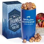 Insulated Acrylic Tumbler 19-Oz. With Gourmet Popcorn in Holiday Gift Box - Personalization Available