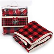 Embroidered Buffalo Plaid Mink Sherpa Blanket with Holiday Wrap - Personalization Available