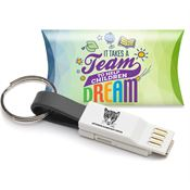 3-In-1 Charging Cord Keychain with One School, One Team: Making A Difference Pillow Box - Personalization Available