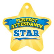 Perfect Attendance Yellow Star Laminated Tag with 4