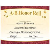 A-B Honor Roll Gold Foil-Stamped Certificates