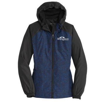 Sport-Tek® Women's Heather Colorblock Raglan Hooded Wind Jacket - Personalization Available