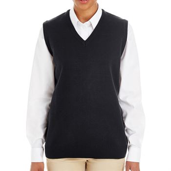 Harriton® Women's Pillbox V-Neck Sweater Vest - Personalization Available