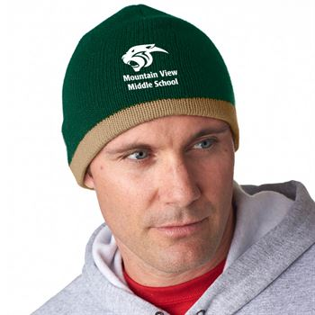 UltraClub® Adult Two-Tone Knit Beanie - Personalization Available