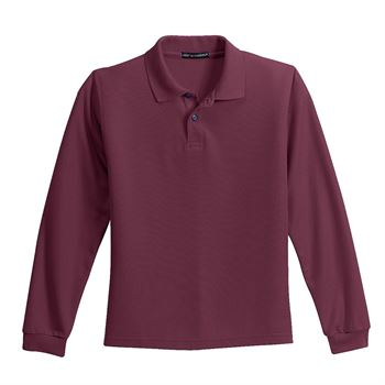 Port Authority® Youth Silk Touch Long-Sleeve Polo - Personalization Available