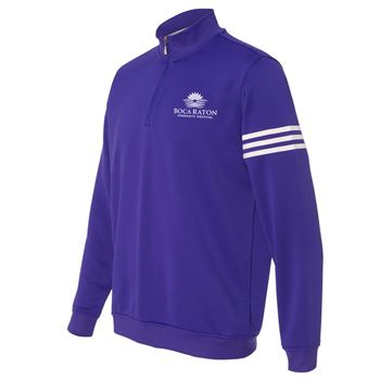 Adidas-Golf ClimaLite 3-Stripes French Terry Quarter-Zip Pullover