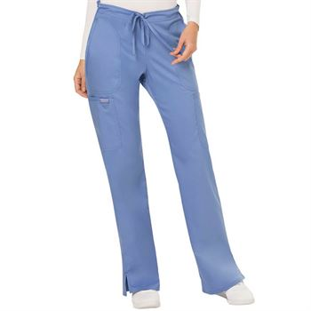Cherokee Women's 5-Pocket Mid Rise Moderate Flare Drawstring Scrubs Pants