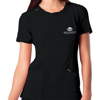 Cherokee® Women's Three-Pocket Infinity Round Neck Scrubs Top - Personalization Available