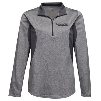 Tri-Mountain® Ladies Sprinter Heather Jersey Long-Sleeve 1/4-Zip Pullover - Personalization Available