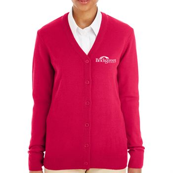 Harriton® Women's' Pilbloc™ V-Neck Button Cardigan Sweater - Personalization Available