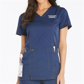 Dickies® Women's Mock Wrap Scrubs Top - Personalization Available