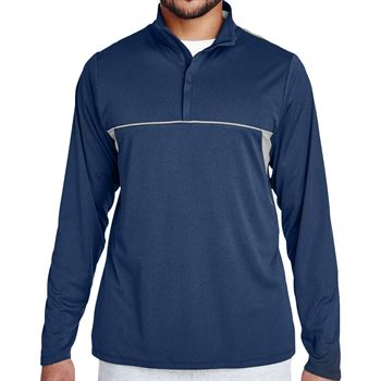 Team 365® Excel Melange Men's Interlock Performance Quarter-Zip Top - Personalization Available