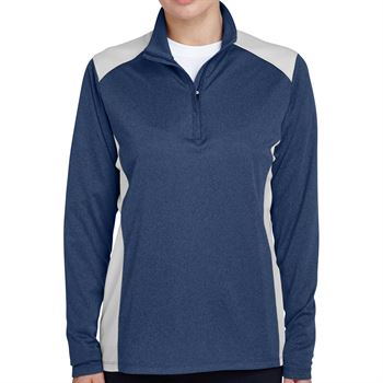 Team 365® Excel Melange Women's Interlock Performance Quarter-Zip Top - Personalization Available