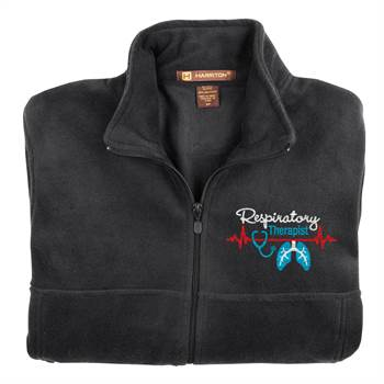 Respiratory Therapist Heartbeat Lungs Harriton® Men's Full-Zip Fleece Jacket - Personalization Available