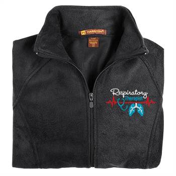 Respiratory Therapist Heartbeat Lungs Harriton® Women's Full-Zip Fleece Jacket - Personalization Available