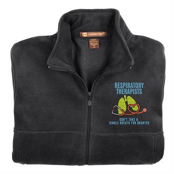 Respiratory Therapists Don't Take A Single Breath For Granted Men's Harriton® Full-Zip Fleece Jacket -Personalization Available
