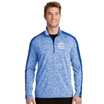 Sport-Tek® Men's PosiCharge® Electric Heather Colorblock Quarter-Zip Pullover - Embroidery Personalization Available